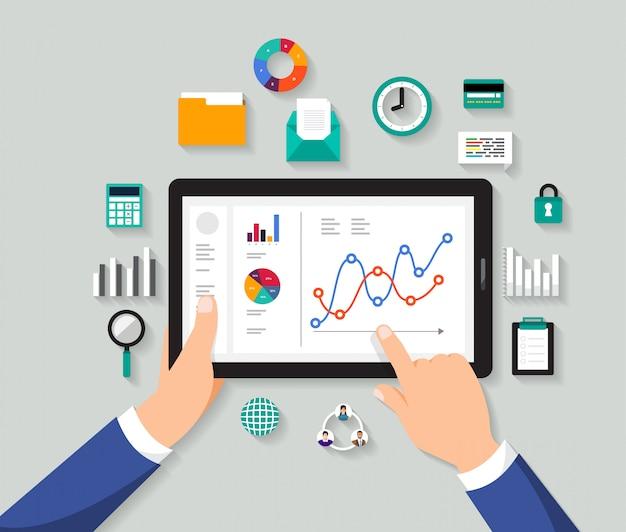 Concetto uomo d'affari analisi dati digitali. illustrare Vettore Premium