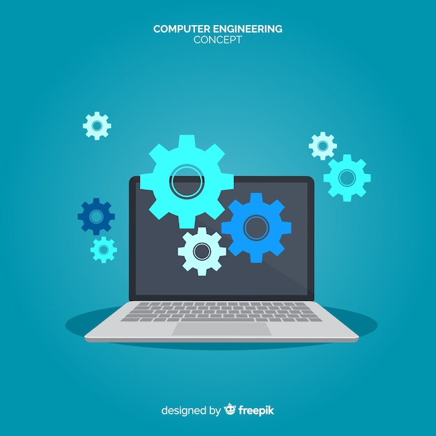 Concetto di ingegneria informatica piatta Vettore Premium