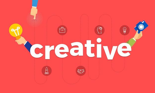 Concetto mano creare icona simbolo e parole creative. illustrazioni. Vettore Premium