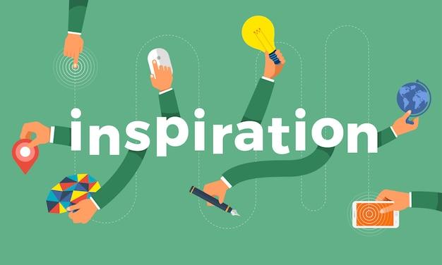 Concetto mano creare icona simbolo e parole ispirazione. illustrazioni. Vettore Premium