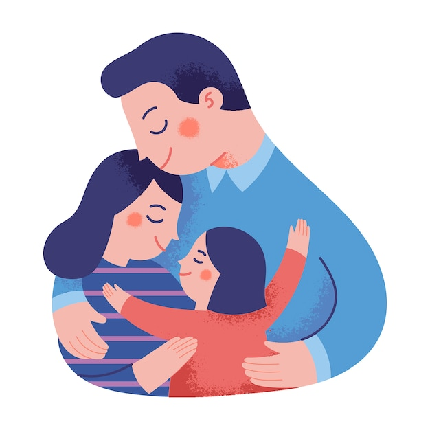 Illustrazione di concetto di una famiglia felice che si abbraccia Vettore Premium