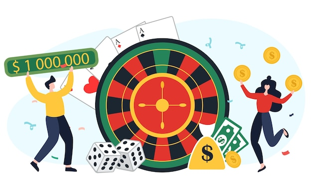 La gente di concetto si rallegra di vincere in un casinò. illustrazione piatta. un uomo e una donna stanno giocando al gioco d'azzardo, alle slot machine e alla roulette. Vettore Premium