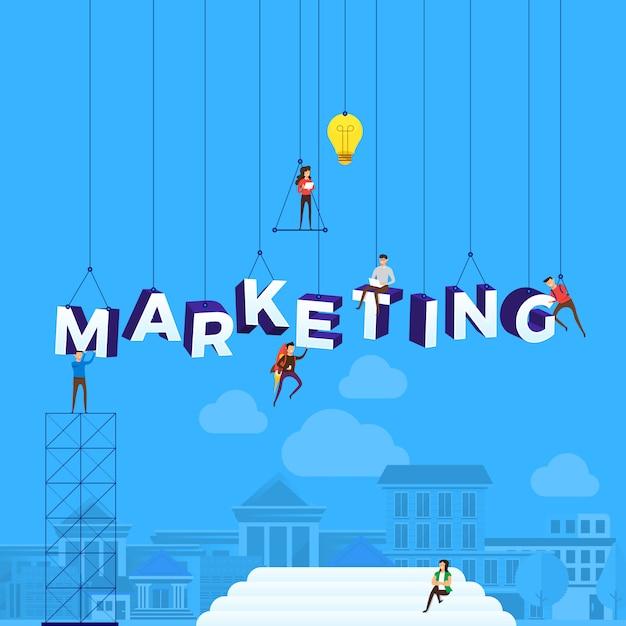 Concetto di persone che lavorano per la costruzione di testo marketing. illustrazione. Vettore Premium