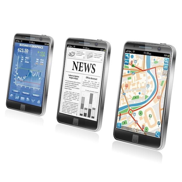 Concept - applicazioni per smartphone Vettore Premium