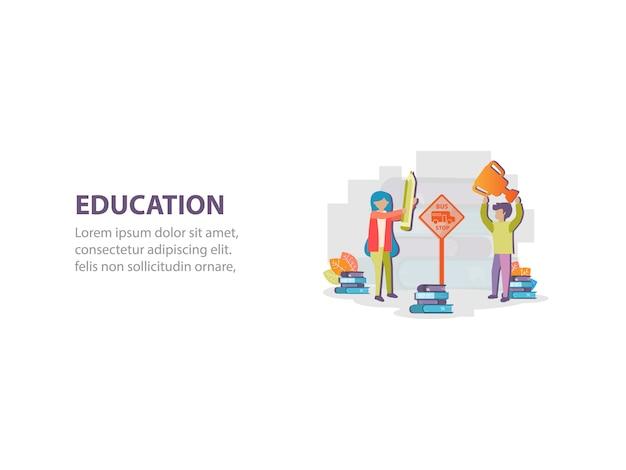 Concetto di progettazione del fondo della scuola aspettante del bus dello studente Vettore Premium