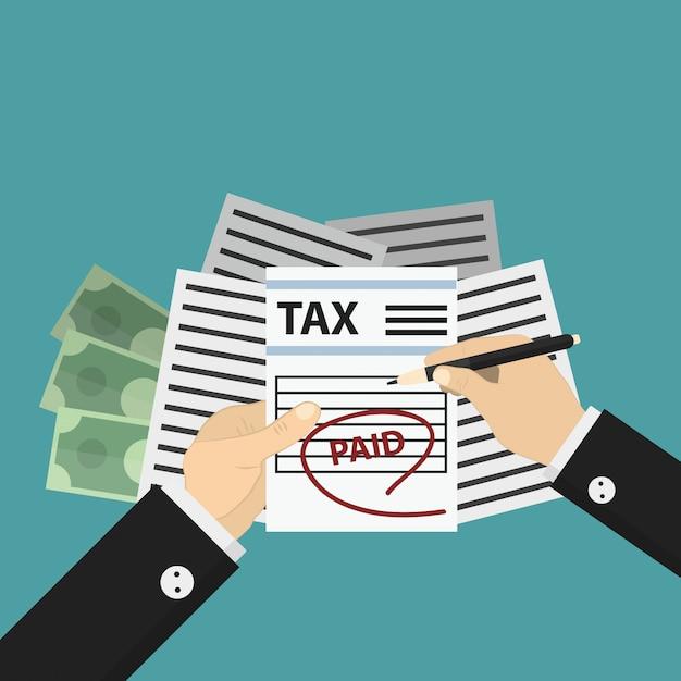 Concetto di pagamento delle tasse e dell'economia sullo sfondo blu. Vettore Premium