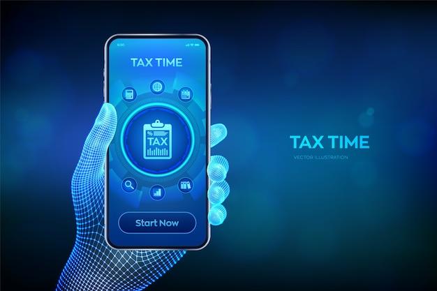 Pagamento delle tasse di concetto. rapporto di ricerca finanziaria e calcolo della dichiarazione dei redditi. smartphone in mano. Vettore Premium