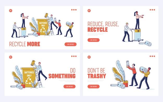 Concetto di riciclaggio di batterie usate. pagina di destinazione del sito web. Vettore Premium