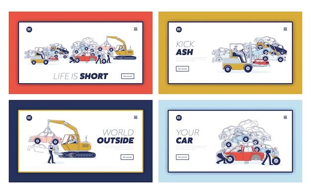 Processo di utilizzo del concetto di veicoli. Vettore Premium