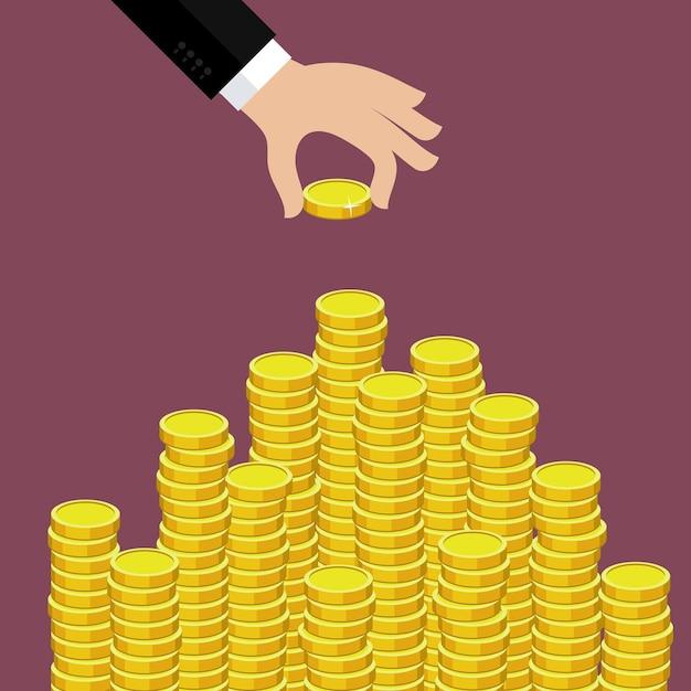 Concetto di ricchezza. la mano ha messo la moneta alla scala dei soldi. Vettore Premium