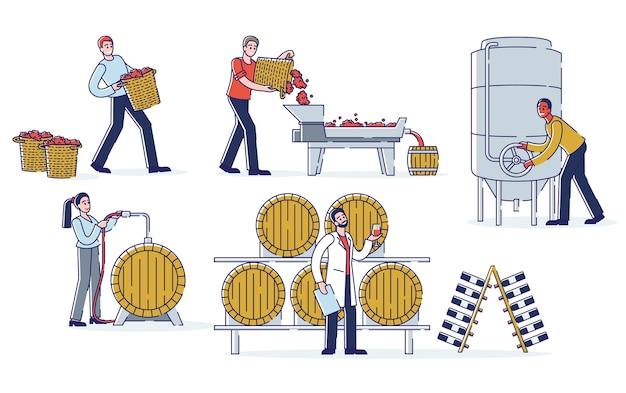 Concetto di produzione di vino. i produttori di vino lavorano sulla pianta del vino. i personaggi sono la raccolta, la pigiatura dell'uva, la fermentazione del mosto, l'invecchiamento e il riempimento del vino. Vettore Premium