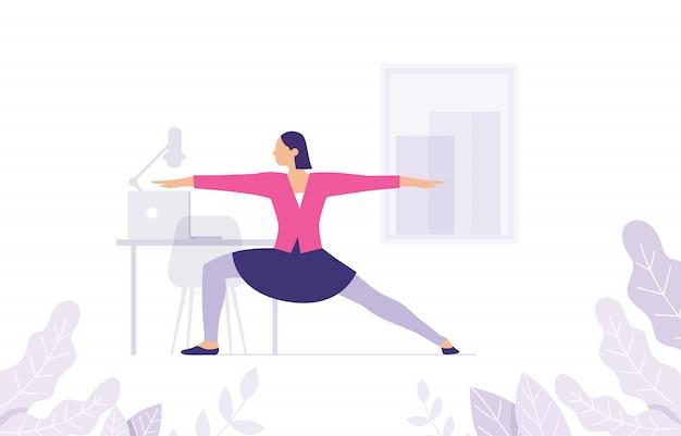 Concetto di donne yoga nell'area di lavoro come allungamento di muscoli e corpi Vettore Premium