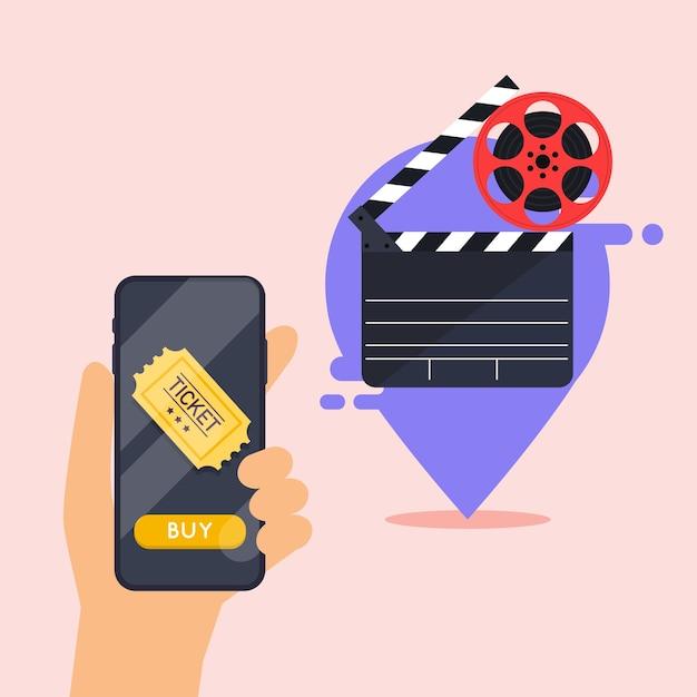 Concetti di ordinazione di biglietti per il cinema online. mano che tiene il telefono cellulare intelligente con app di acquisto online. Vettore Premium