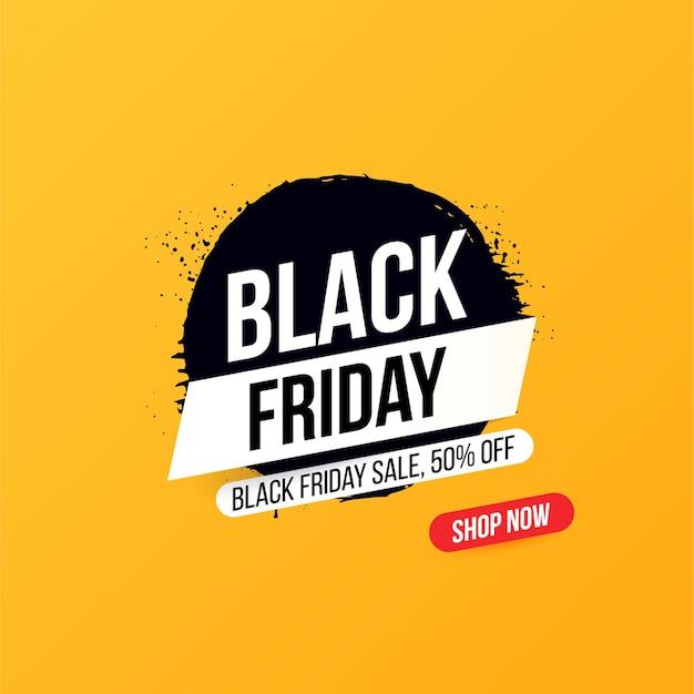 Banner conciso con pulsante per vendite e sconti sul black friday. Vettore Premium