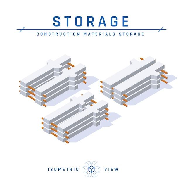 Stoccaggio di colonne di cemento, vista isometrica in stile piano. Vettore Premium