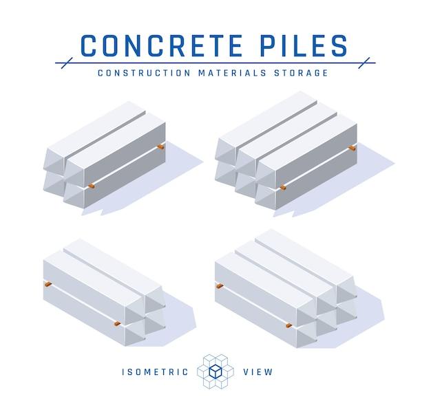Concetto di stoccaggio di pile di cemento, vista isometrica in stile piano. Vettore Premium