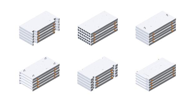 Icone di lastra di cemento in vista isometrica. pile di pannelli di cemento. concetto di stoccaggio dei materiali da costruzione. Vettore Premium