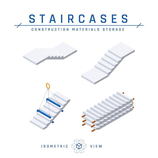 Set di scale in cemento, vista isometrica. Vettore Premium