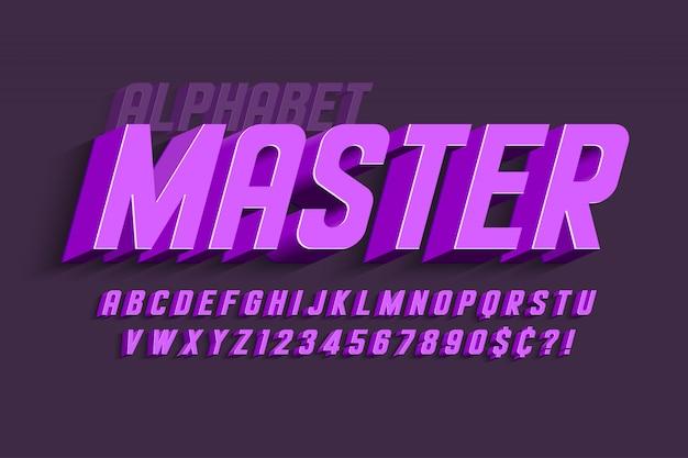 Design dei caratteri, alfabeto, lettere e numeri condensati. Vettore Premium