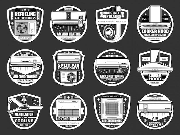 Condizionamento, icone di ventilazione, condizionatore d'aria Vettore Premium