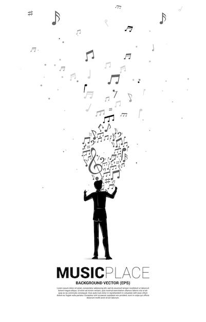 Direttore d'orchestra e icona di pin a forma di nota melodia musicale. sfondo di concetto per festival di musica e luogo di concerti. Vettore Premium