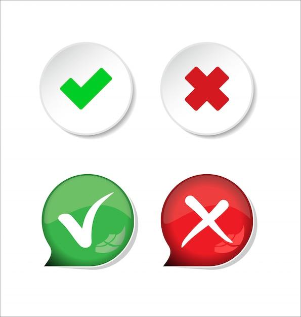 Conferma e nega il segno di spunta e il pulsante con l'icona x Vettore Premium