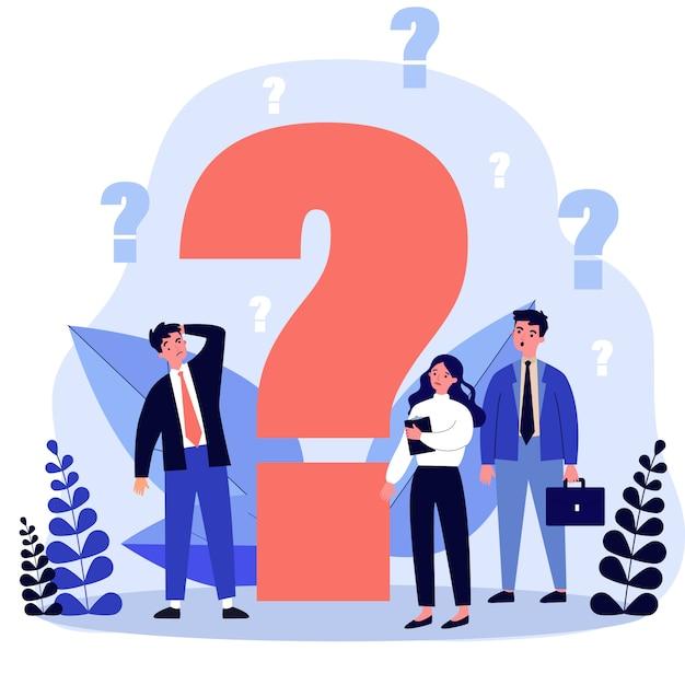 Persone di affari confuse che fanno domande Vettore Premium