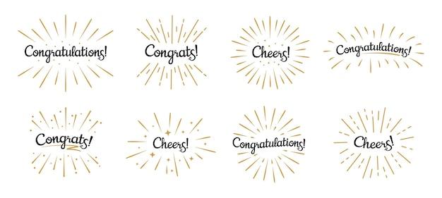 Congratulazioni scritte. etichetta di congratulazioni, celebrazione di acclamazioni e badge di testo di congratulazioni con raffica d'oro Vettore Premium