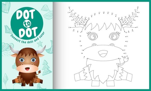 Collega il gioco e la pagina da colorare per bambini con un simpatico bufalo Vettore Premium