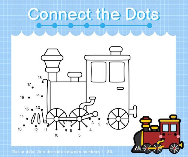 Collega la locomotiva a punti: giochi da punto a punto per bambini che contano il numero 1-20 Vettore Premium