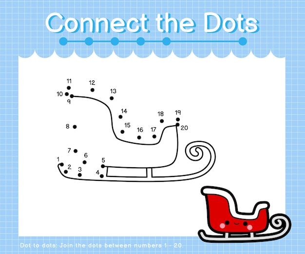 Collega la slitta di natale a punti - giochi da punto a punto per bambini che contano il numero Vettore Premium