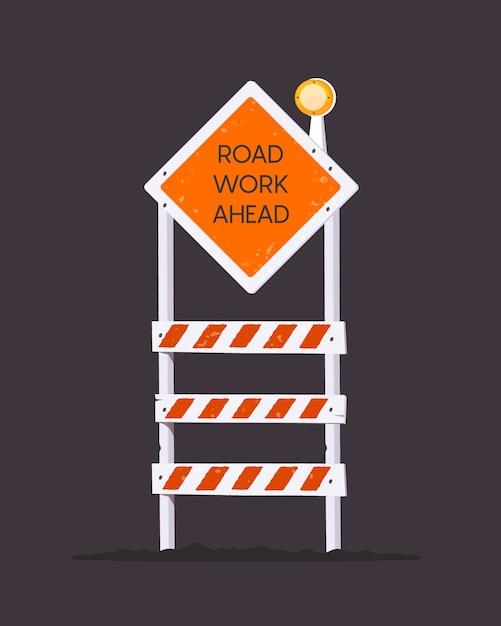 Barriera in costruzione. lavori stradali avanti. icona di barriera di avviso. Vettore Premium