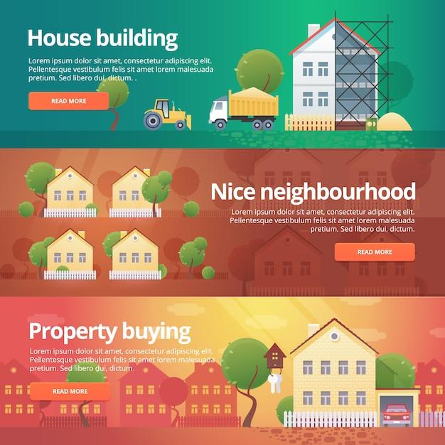 Set di costruzione e costruzione. illustrazioni sul tema dell'acquisto di proprietà, quartiere, costruzione di case, immobili. Vettore Premium