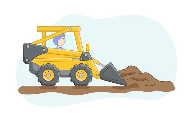 Concetto di costruzione. costruzione di camion con autista. il bulldozer rastrella la sabbia o la terra. lavori di operatore di macchine edili. carattere al lavoro. Vettore Premium