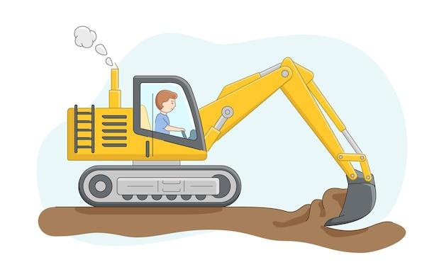 Concetto di costruzione. costruzione di camion con autista. l'escavatore scava sabbia o terra. lavori di operatore di macchine edili. carattere al lavoro. Vettore Premium