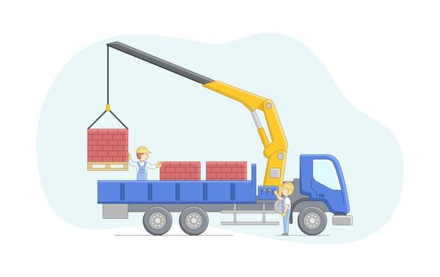 Concetto di costruzione. il gruista e il lavoratore lavorano insieme. la gru del manipolatore scarica i mattoni sui pallet. lavori di operatore di macchinari. personaggi al lavoro. Vettore Premium