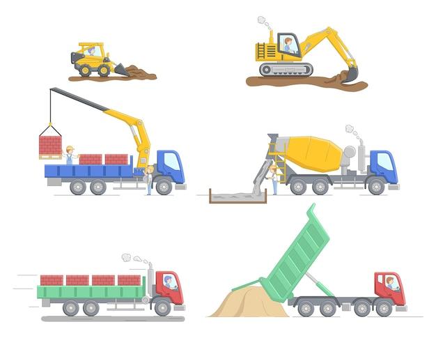 Concetto di costruzione. set di diversi truks edilizia e attrezzature per differenti lavori. lavori di operatore di macchine edili. personaggi al lavoro. illustrazione piana di vettore del profilo lineare del fumetto. Vettore Premium