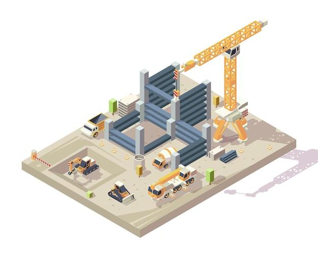 Costruzione isometrica. costruzione all'aperto alto appartamento lavoratori edili veicoli auto gialle gru trasportatore escavatore vettore. cantiere di illustrazione con blocco isometrico Vettore Premium