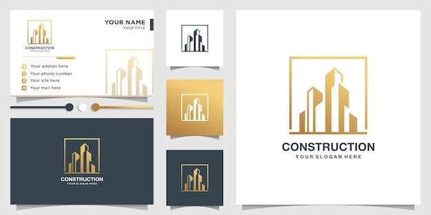 Modello di logo di costruzione e biglietto da visita Vettore Premium