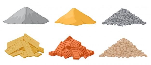 Mucchi di materiale da costruzione. Vettore Premium