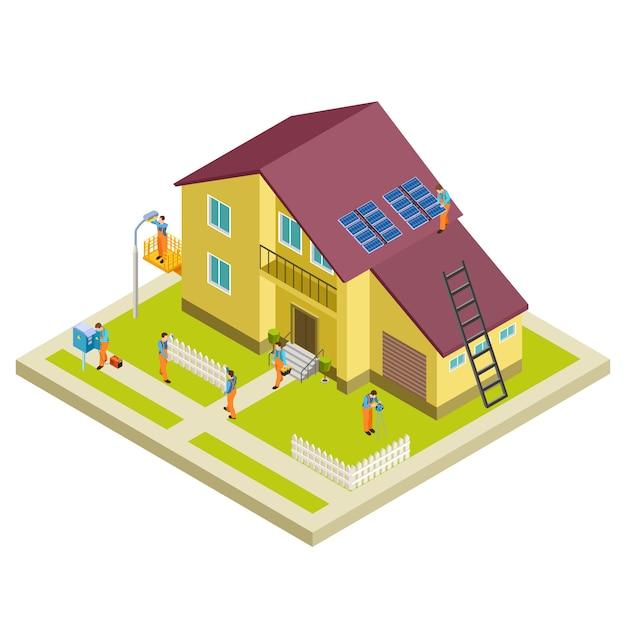 Costruzione, ricostruzione e riparazione concetto isometrico casa rurale Vettore Premium