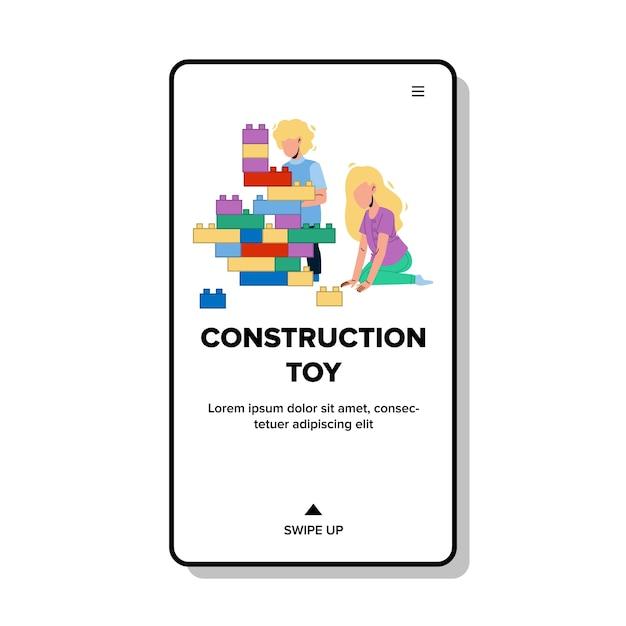 Blocchi di costruzione giocattolo che giocano i bambini Vettore Premium