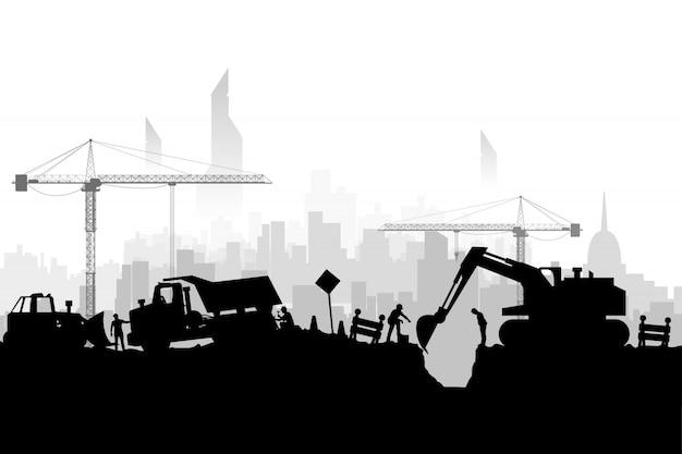 Veicoli da costruzione silhoette city Vettore Premium