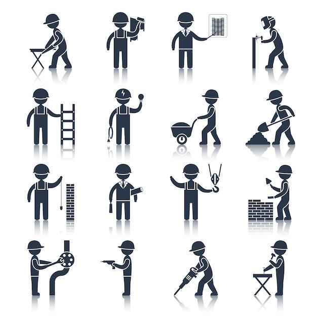 Icone del carattere del muratore nero Vettore Premium