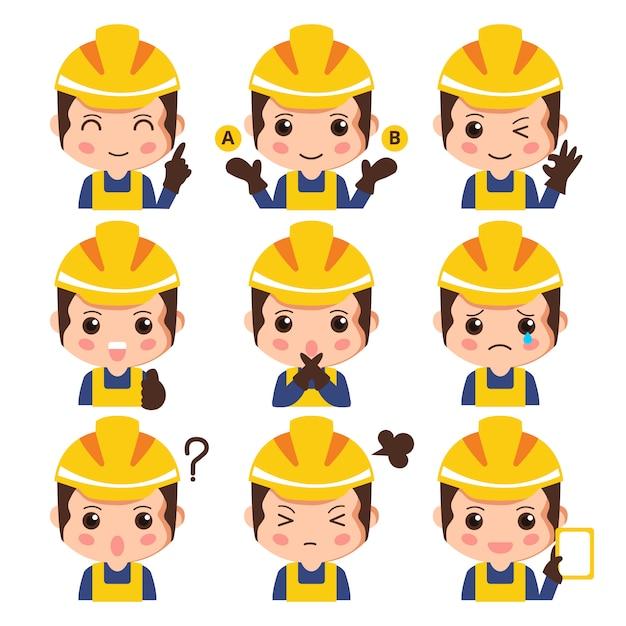 Insieme di espressione facciale dell'operaio di costruzione Vettore Premium