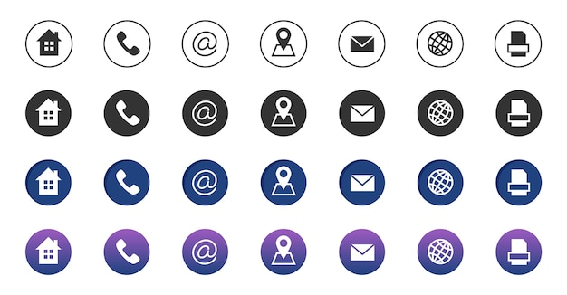Icone di contatto. raccolta di simboli di comunicazione aziendale di informazioni. chiama le icone di posizione internet, indirizzo, posta e fax. icone del telefono, indirizzo internet, illustrazione del contatto e-mail Vettore Premium
