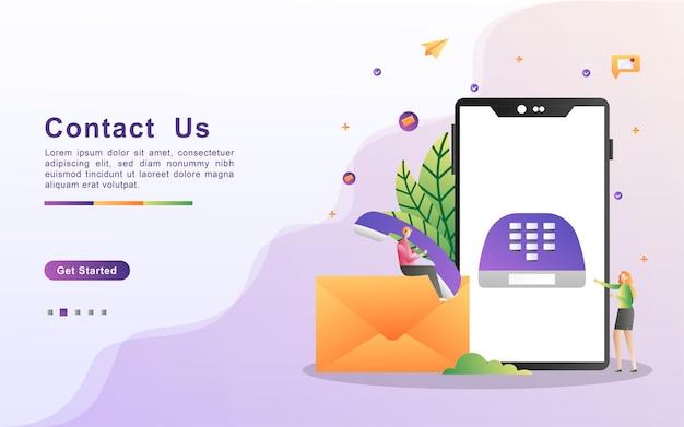 Contattaci concept. servizio di assistenza clienti Vettore Premium