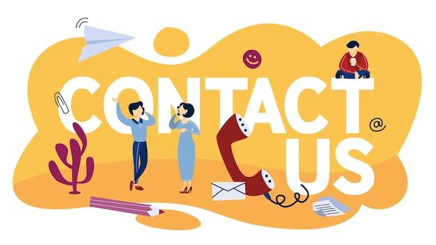 Contattaci concept. idea di servizio di supporto. assistere la comunicazione con i clienti e fornire loro informazioni utili online o tramite telefonata. illustrazione Vettore Premium