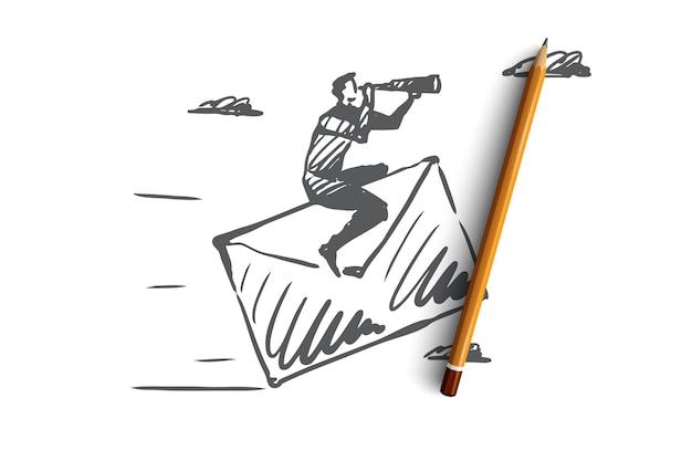 Contattaci, posta, cliente, concetto di servizio. uomo disegnato a mano che si siede sullo schizzo di concetto della posta di carta. Vettore Premium