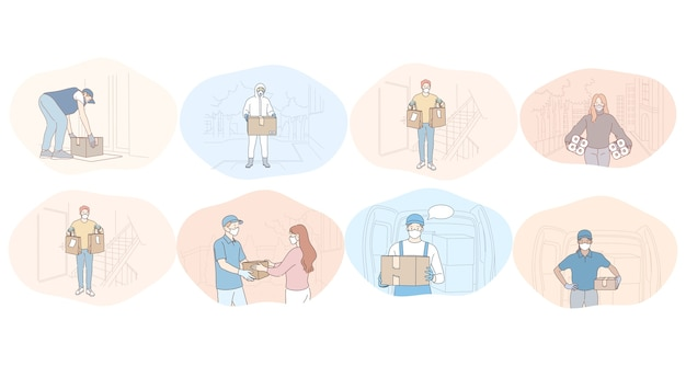 Consegna senza contatto, corriere, ordine online, acquisto, logistica, protezione durante il concetto di epidemia Vettore Premium